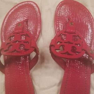 tory burch red patent leather miller sandals